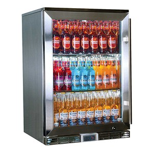 Rhino – GSP Stainless Steel Alfresco Glass Door Bar Fridge with IP34 Rating & LOW E Glass – 138L 865mmH – Left Hinged