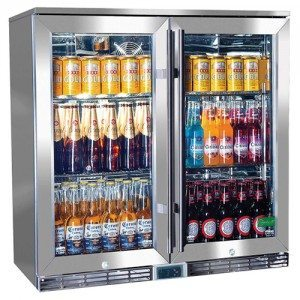 Rhino – GSP Stainless Steel Twin Door Alfresco Glass Door Bar Fridge with IP34 Rating & LOW E Glass – 210L – 865mmH