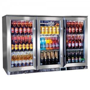 Rhino – GSP Stainless Steel Triple Door Alfresco Glass Door Bar Fridge with IP34 Rating & LOW E Glass – 330L – 865mmH