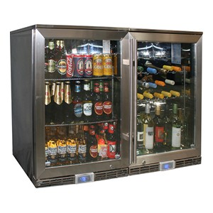 Rhino – GSP Stainless Steel Matching Beer & Wine Alfresco Glass Door Bar Fridge with IP34 Rating & LOW E Glass – 258L – 840mmH