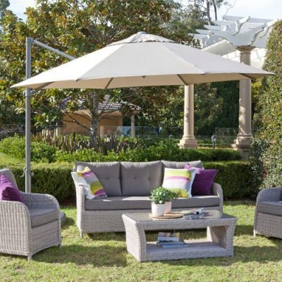 Outdoor furniture with Shelta umbrellas and settings