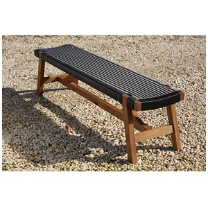 Parker Boyd - Corfu Teak & Wicker Bench Seat - Black