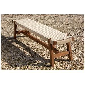 Parker Boyd – Corfu Teak & Wicker Bench Seat - Manu White