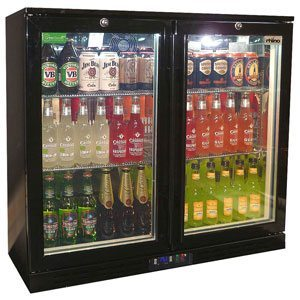 Rhino - Commercial Black Glass Double Door Bar Fridge Energy Efficient