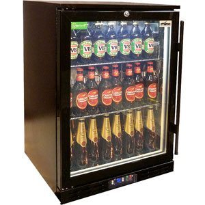 Rhino Black Commercial Glass 1 Door Bar Fridge Energy Efficient LG Compressor