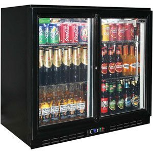 Rhino Black Glass Sliding 2 Door Bar Fridge Energy Efficient LG Compressor