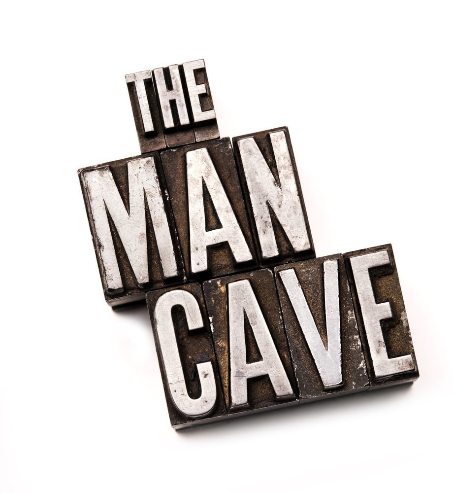The phrase the man cave in letterpress type