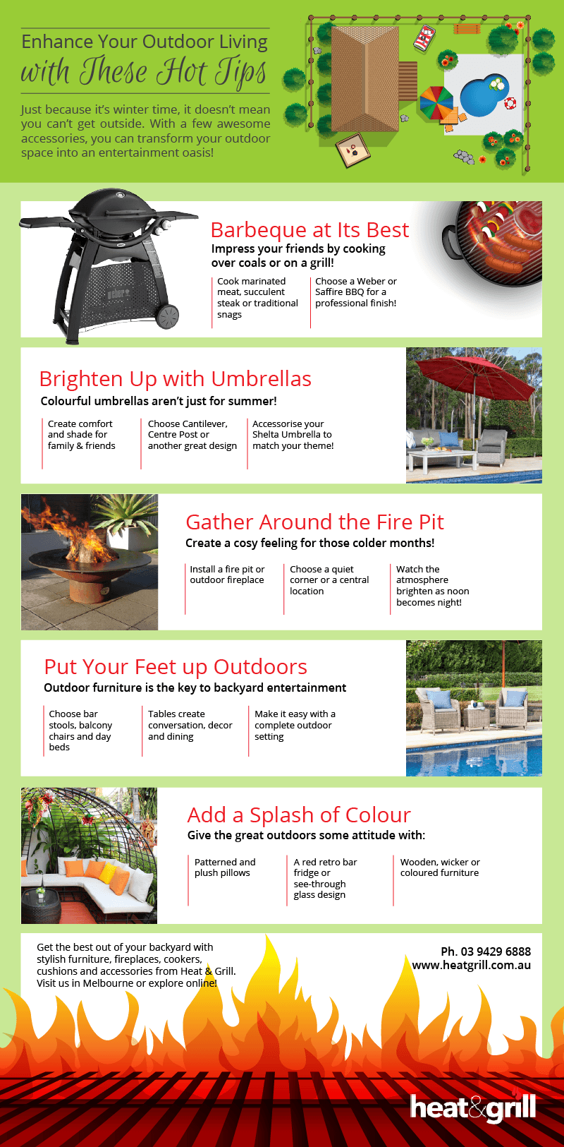 Enhance your Outdoor Living with these Hot Tips - Infographic