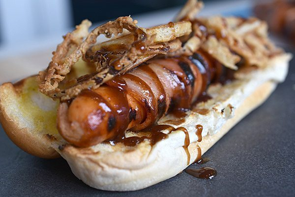 Bacon Wrapped BBQ Hotdogs with Crispy Buttermilk Onion Rings