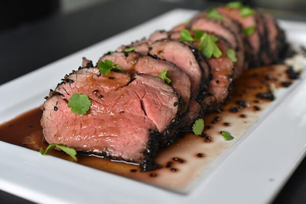 Black Sesame Crusted Beef with Ponzu Sauce