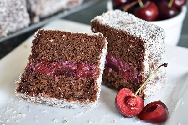 Cherry Ripe Lamingtons