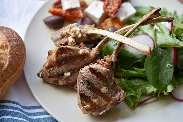 Lamb Cutlets with Sundried Tomato, Feta and Olive Stuffing