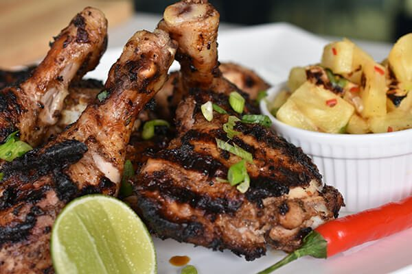Jamaican Jerk Chicken and Barbecued Pineapple Salsa
