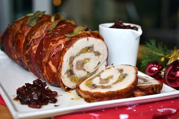 Turkey Roulade with cranberry reduction