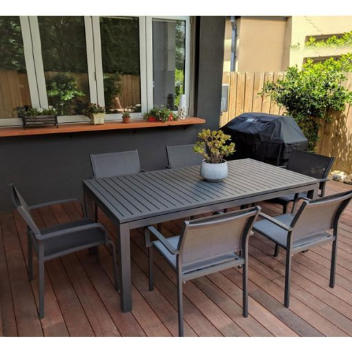 Shelta – River & Lina 7 Piece Charcoal Dining Setting
