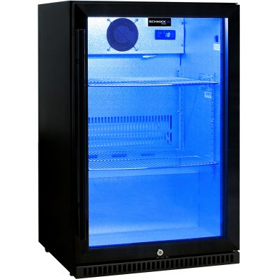 Schmick Black Bar Fridge Tropical Rated With Heated Glass and Triple Glazing 1 Door - Right Hinged