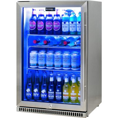 Schmick 304 Stainless Steel Bar Fridge Tropical Rated With Heated Glass and Triple Glazing - Left Hinged