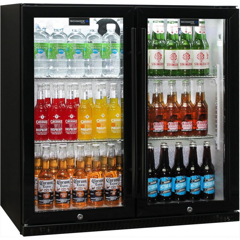 Schmick Black Bar Fridge 2 Door SK190-B