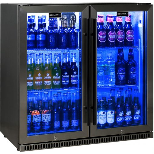 Schmick Black Stainless Steel Bar Fridge Tropical Rated 2 Door SK190-BS