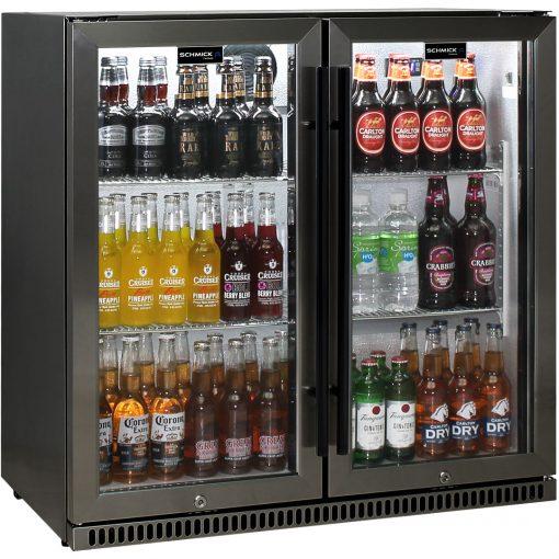 Schmick Black Stainless Steel Bar Fridge Tropical Rated 2 Door SK190-BS