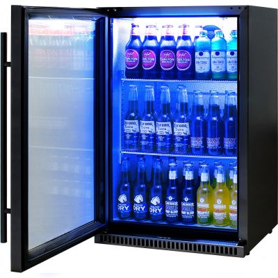 Schmick Black Bar Fridge Tropical Rated With Heated Glass and Triple Glazing 1 Door - Left Hinged